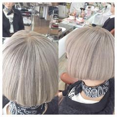 大人かわいい ハイトーン ガーリー ボブ ヘアスタイルや髪型の写真・画像