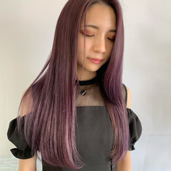 ピンクバイオレット ピンクベージュ インナーカラー ミディアム ヘアスタイルや髪型の写真・画像