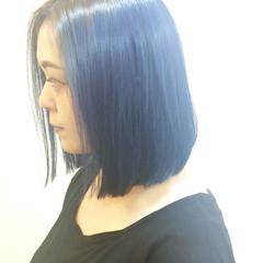 ブルー グラデーションカラー 外国人風 ボブ ヘアスタイルや髪型の写真・画像