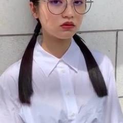 韓国ヘア 前髪パッツン ヘアアレンジ ワイドバング ヘアスタイルや髪型の写真・画像