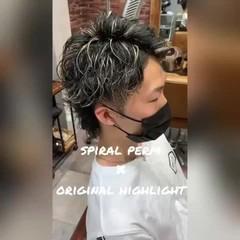 メッシュ ストリート ショート ハイライト ヘアスタイルや髪型の写真・画像