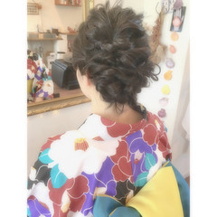 花火大会 夏 大人かわいい 和装 ヘアスタイルや髪型の写真・画像