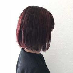 ベリーピンク 秋 ナチュラル ボブ ヘアスタイルや髪型の写真・画像