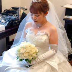 セミロング 結婚式 ねじり アップスタイル ヘアスタイルや髪型の写真・画像