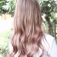 ピンク 外国人風カラー セミロング ピンクアッシュ ヘアスタイルや髪型の写真・画像