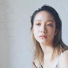 オールバック ミディアム ブラントカット モード ヘアスタイルや髪型の写真・画像