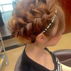 ヘアアレンジ 夏 アップスタイル 編み込み ヘアスタイルや髪型の写真・画像