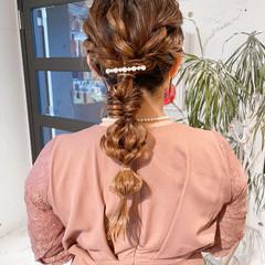 簡単ヘアアレンジ エレガント 編みおろしヘア ヘアアレンジ ヘアスタイルや髪型の写真・画像