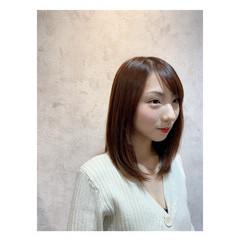 艶髪 トリートメント ストレート セミロング ヘアスタイルや髪型の写真・画像