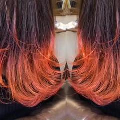 ブリーチオンカラー バレイヤージュ オレンジ ミディアム ヘアスタイルや髪型の写真・画像