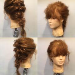 編み込み ヘアアレンジ セミロング フェミニン ヘアスタイルや髪型の写真・画像