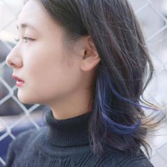 ミディアム 暗髪 グレージュ ストリート ヘアスタイルや髪型の写真・画像