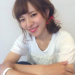 編み込み ゆるふわ ヘアアレンジ ミディアム ヘアスタイルや髪型の写真・画像