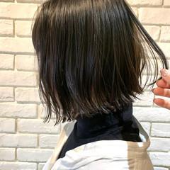 地毛風カラー 外ハネボブ ナチュラル ボブ ヘアスタイルや髪型の写真・画像