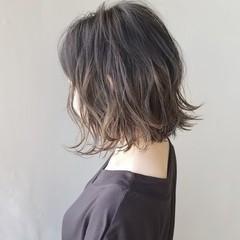 イルミナカラー ボブ グラデーションカラー ナチュラル ヘアスタイルや髪型の写真・画像