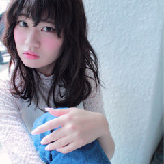 黒髪 暗髪 ミディアム コンサバ ヘアスタイルや髪型の写真・画像