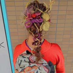 ロング ヘアアレンジ 成人式カラー ガーリー ヘアスタイルや髪型の写真・画像