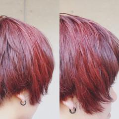 レッド ブリーチ ハイトーン ショート ヘアスタイルや髪型の写真・画像