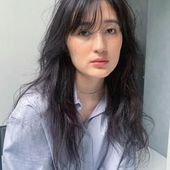 似合わせカット うざバング スタイリング ロング ヘアスタイルや髪型の写真・画像