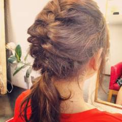 ヘアアレンジ ナチュラル ショート 編み込み ヘアスタイルや髪型の写真・画像