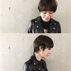 小顔 ショート ナチュラル ジェンダーレス ヘアスタイルや髪型の写真・画像