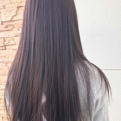 デート ピンクラベンダー ストレート ロング ヘアスタイルや髪型の写真・画像