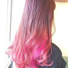ピンクカラー ストリート ダブルカラー カラーバター ヘアスタイルや髪型の写真・画像