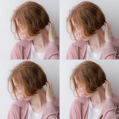 無造作ミックス ボブ アンニュイほつれヘア シアーベージュ ヘアスタイルや髪型の写真・画像