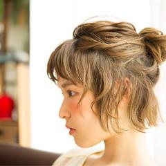 ショート 簡単ヘアアレンジ ヘアアレンジ ゆるふわ ヘアスタイルや髪型の写真・画像