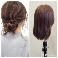 結婚式 ヘアアレンジ ショート ミディアム ヘアスタイルや髪型の写真・画像