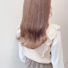 ミルクティーグレージュ ナチュラル セミロング ミルクティーベージュ ヘアスタイルや髪型の写真・画像