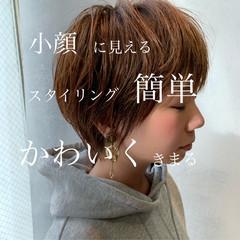 フェミニン ショート ショートボブ ショートヘア ヘアスタイルや髪型の写真・画像