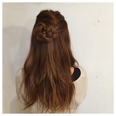 ハーフアップ 編み込み 大人かわいい ヘアアレンジ ヘアスタイルや髪型の写真・画像