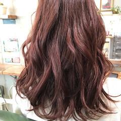 大人かわいい セミロング ピンク ストリート ヘアスタイルや髪型の写真・画像