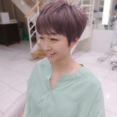 前髪パッツン ピンクアッシュ ナチュラル ハイライト ヘアスタイルや髪型の写真・画像