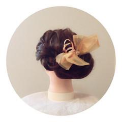 ヘアアレンジ フェミニン ヘアアクセ 成人式 ヘアスタイルや髪型の写真・画像