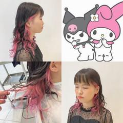 ストリート セミロング ピンク 派手髪 ヘアスタイルや髪型の写真・画像