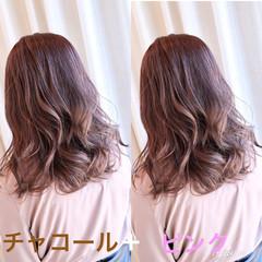 ナチュラル ピンク セミロング ラベンダーピンク ヘアスタイルや髪型の写真・画像