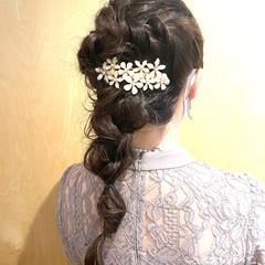 簡単ヘアアレンジ 編み込みヘア 結婚式ヘアアレンジ 編み込み ヘアスタイルや髪型の写真・画像