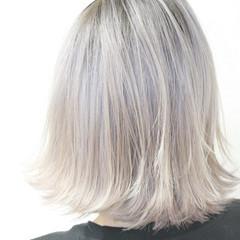外国人風 ミディアム ホワイト モード ヘアスタイルや髪型の写真・画像