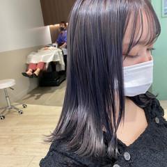 ガーリー ネイビーブルー ミディアム ブルーラベンダー ヘアスタイルや髪型の写真・画像