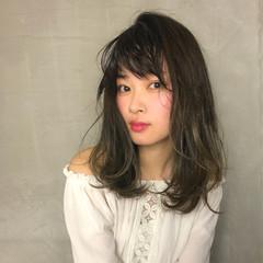 外国人風 グラデーションカラー セミロング ハイライト ヘアスタイルや髪型の写真・画像