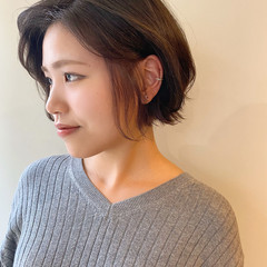 ショート ミニボブ ショートヘア インナーカラー ヘアスタイルや髪型の写真・画像