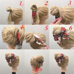 ゆるふわ ロング 簡単ヘアアレンジ メッシーバン ヘアスタイルや髪型の写真・画像