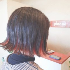 ボブ ダブルカラー インナーカラー N.オイル ヘアスタイルや髪型の写真・画像