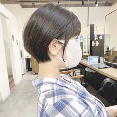 耳かけ 大人ショート ショートボブ ショート ヘアスタイルや髪型の写真・画像