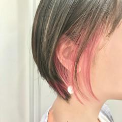 髪質改善トリートメント フェミニン ミニボブ インナーカラー ヘアスタイルや髪型の写真・画像