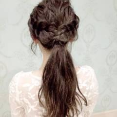 ガーリー ナチュラル 簡単 編み込み ヘアスタイルや髪型の写真・画像