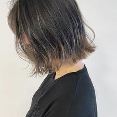 透明感カラー バレイヤージュ ボブ ホワイトハイライト ヘアスタイルや髪型の写真・画像