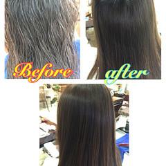 セミロング 艶髪 縮毛矯正 ストレート ヘアスタイルや髪型の写真・画像